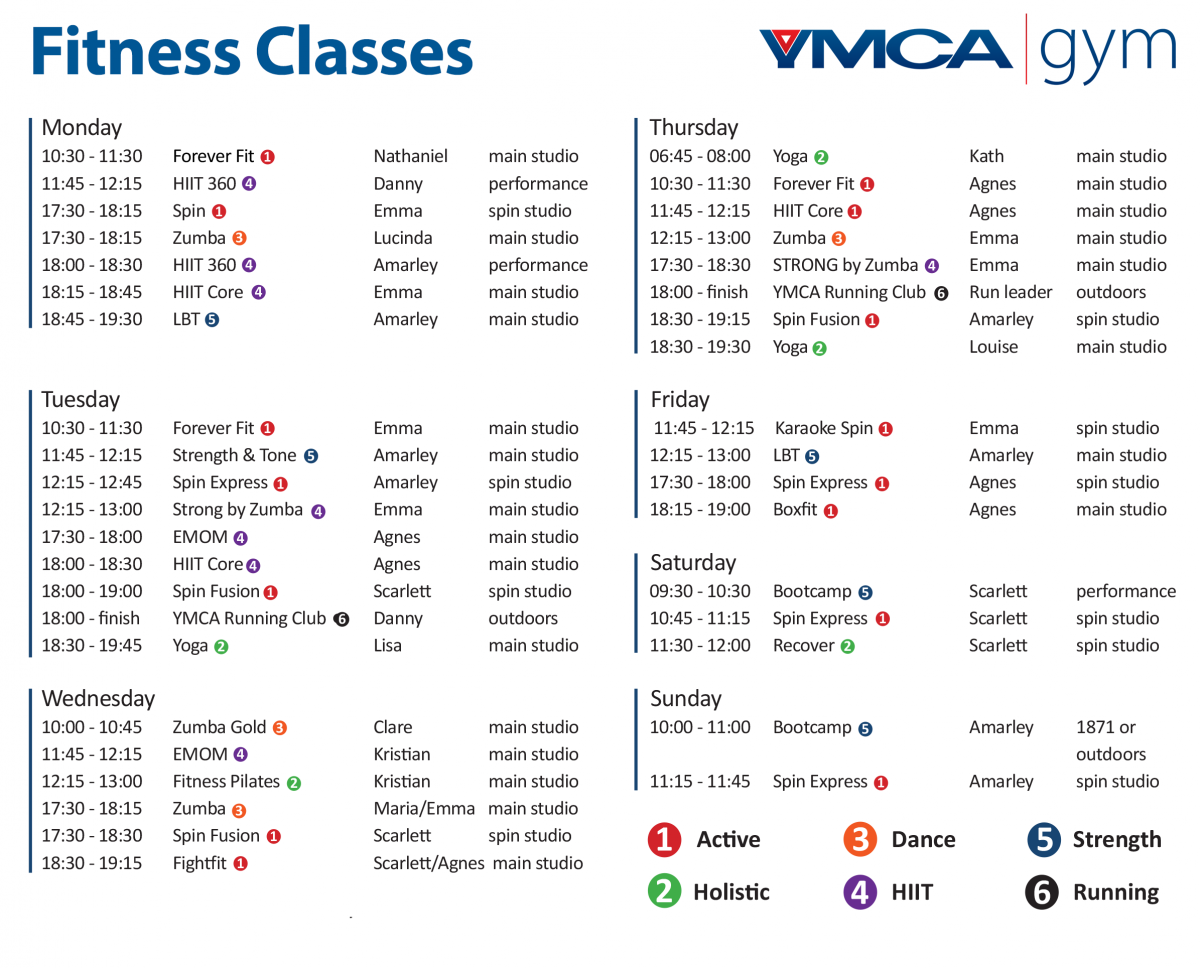 YMCA Gym Classes Timetable | Nottinghamshire YMCA