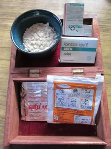 Ruth in Nepal gut medicines