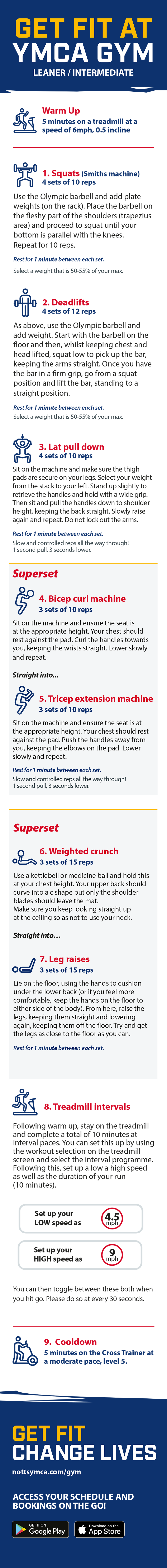 YMCA gym leaner workout programme