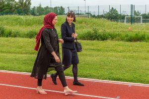 Newark-Baroness-Barran-Asma-walking-athletics-track