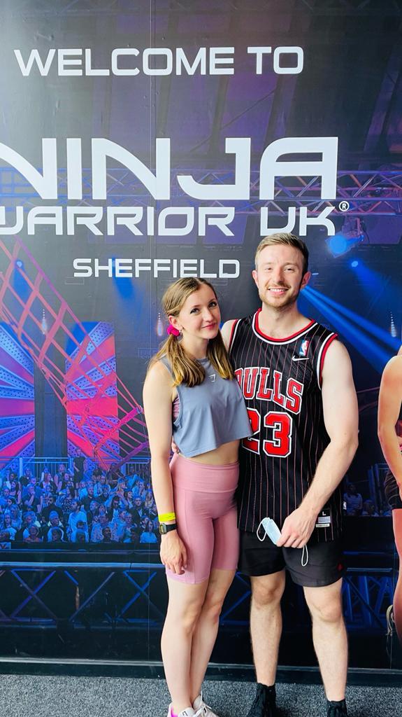 YMCA staff and gym member Emma with fiancé  Nick