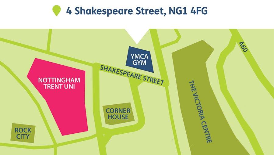YMCA Gym Nottingham Location Map